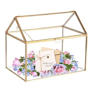 Mostbest Glass Wedding Card Box, Glass Gift Boxes, Terrarium Card Holder Perfect for Centerpiece Decor,Wedding Receptions, Planter Holder, Gift & Display Box (8.26 x5.9 x7.48 )
