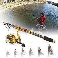 Entweg 釣りリールとロッドコンボポータブルテレスコピック釣りポールリール 釣りタックルバッグとセット、釣りリールロッドコンボ