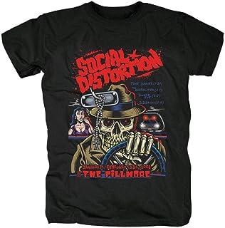 Biooarc SOCIAL DISTORTIONヘビーメタルNEW BAND黒の綿のTシャツアジアのサイズ