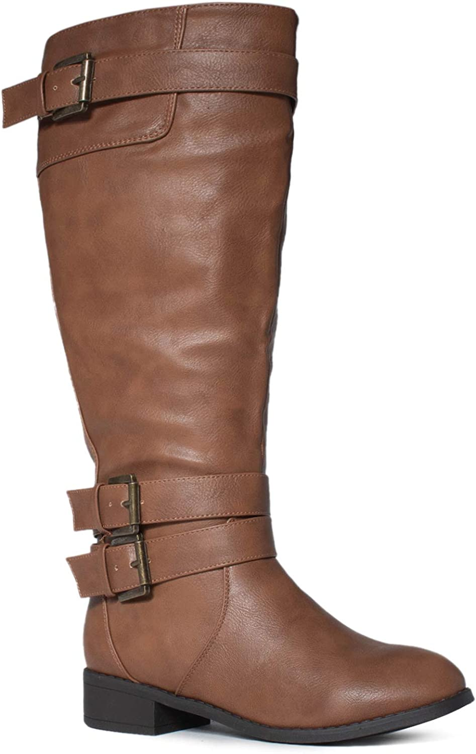 RF ROOM OF FASHION Madison Extra Wide Calf Buckle Knee High Riding Boots w Pocket