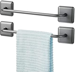 mDesign Metal Bathroom Storage Towel Bar with Strong Self Adhesive - Holder Rack for Hanging Washcloths, Hand, Face Towels in Main or Guest Powder Rooms - 2 Pack - Graphite Gray