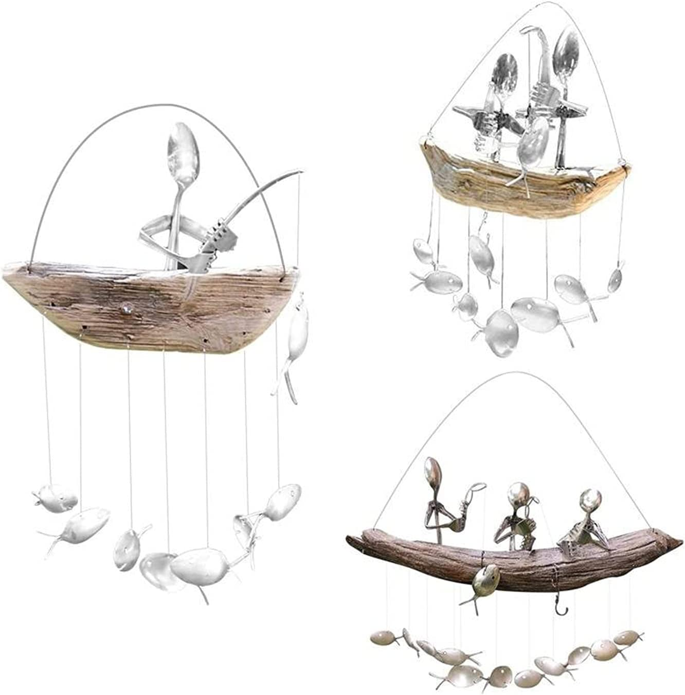 Fishing Man Spoon Max 54% OFF Fish Sculptures Chime - Wind C Cheap super special price
