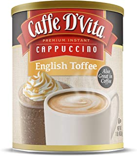 Caffe D'Vita English Toffee Cappuccino, Pack of 6, 1 lb cans (16 oz)