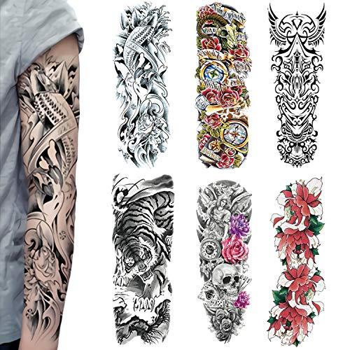 Temporäre Tattoos Extra Große, Full Arm Temporäre Tattoo für Männer und Frauen, Tiger, Rose, Body Art Erwachsene Wasserdichte Aufkleber (6 Stück)(2)