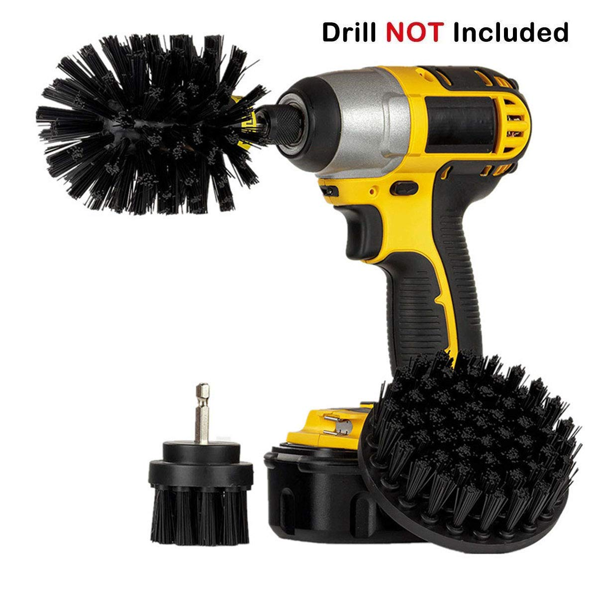 3Pcs Electric Drill Brush Plastic Round Disc Cleaning Brush Power Scrubber Cleaner for Car Kitchen Carpet Glass Floor