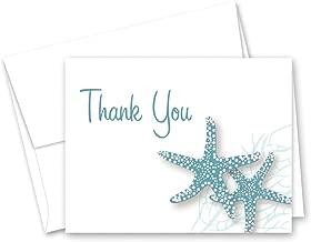 50 Starfish Beach Wedding Shower Thank You Cards (Slate Blue)