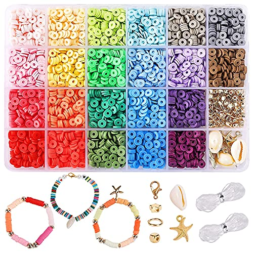 DICOBD 3300pcs Clay Beads Flat Heishi Beads for Jewelry Making with Pendants, 22 Colors