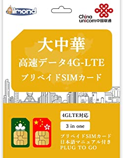 【 大中華simカード】 中国 香港 台湾 マカオ データ通信専用 完全無制限 プリペイド SIM カード (30日間完全無制限)