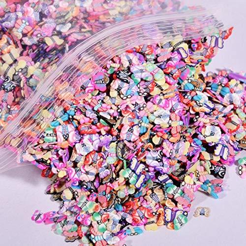 MEIYY Décoration des ongles 10000 Pcs/Sac 5Mm Pâte Polymère 3D Nail Art Décoration Mélanger Fleurs Plume De Fruits Canne Tranche Pour Diy Ongles En Gros