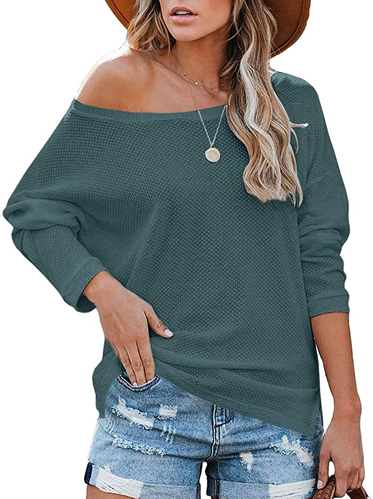 Beautife Womens Oversized Long Sleeve Tops Casual Crewneck Waffle Knit Blouse Pullover Sweater