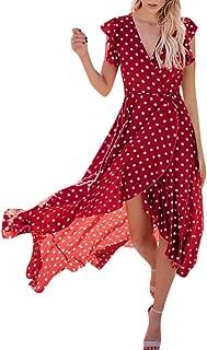 ❤Women's Asymmetrical Maxi Dresses, Ladies Summer Casual Dot Point V Neck Long Dress
