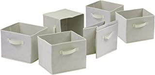 Winsome Wood Capri Foldable Fabric Baskets Set of 6/Beige