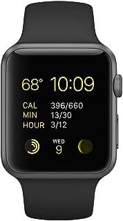 Apple Watch Series 1 Smartwatch 38mm Space Gray Aluminum Case, Black Sport Band (Newest Model) (Renewed)
