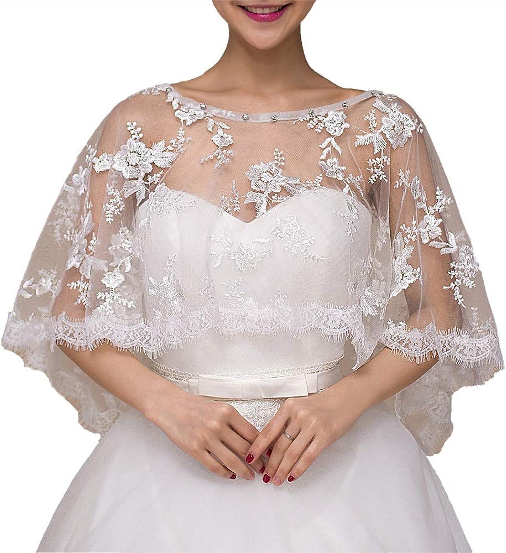 Women's Wedding Dresses Bridal Shawls Lace Bolero Jacket Shrug Bolero Shrug Shawl (color   White, Size   Free Size)