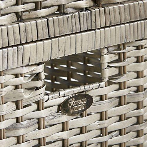 3-er Set mit großer Truhe und Körben aus Korbgeflecht – Korbtruhen – Klappdeckel – 1 große Truhe & 2 Körbe in Würfelform – Aufbewahrung - 8