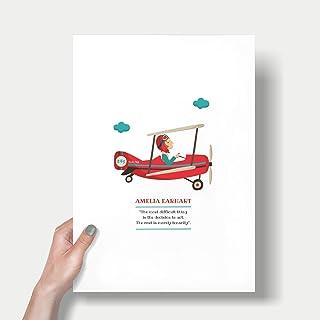 "Stampa""Amelia Earhart"". Disponibile in due misure: A4 / A3. Citazione inclusa da Earhart."