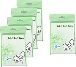 Tebery 50 CountDisposable Toilet Seat Covers -Hotels Travel Portable Toilet Seat Covers Sets