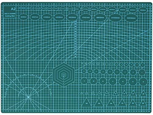 Rocoo カッターマット A1 A2 A3 A4 A5 カッティングマット 5層シート構造 両面印刷 傷自動癒合機能 3mm厚さ グリーン プラモデル用工具 下敷き デスクトップ保護 (グリーン, A2 (縦600×横450×厚さ3mm))