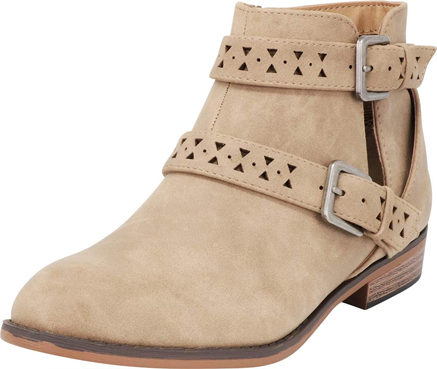 Cambridge Select Women's Western Moto Distressed Side Cutout Strappy Ankle Bootie