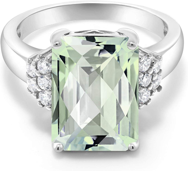 Gem Stone King 925 supreme Sterling Ring Prasiolite Max 59% OFF Women Silver Green