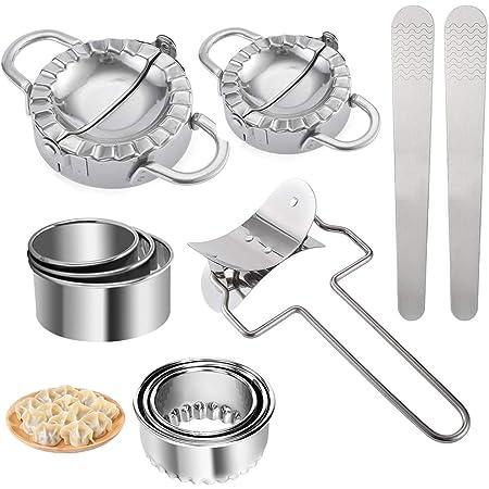 Ravioli Maker, 11 Pièces Acier Inoxydable Ravioli Maker et Ravioli Cutter Kit, Moulle à raviole, Presse à Pâte et Moule à Dumplings Tarte Outil, Accessoires de Cuisine