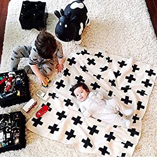 Hiltow Reversible Black and White Cross Knitted Baby Blanket(45