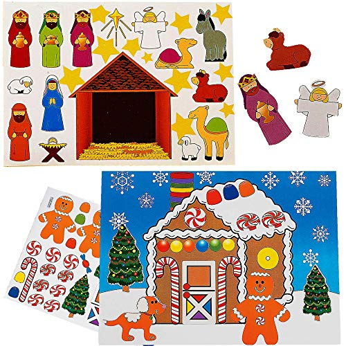 Make A Nativity Scene Stickers & Gingerbread House Sticker Scenes (24 Pack) 12 of Each - Fun Christmas Crafts Activity for Kids by 4E's Novelty