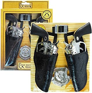 iGifts Inc. Cowboy Gun Playset with Dual Western Pistols & Holsters, Sheriff Badge & Belt