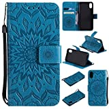 SMYTU iPhone Xs Case,iPhone X Wallet Case, Premium Emboss Sunflower Flip Wallet Shell PU Leather Magnetic Cover Skin with Wrist Strap Case for iPhone Xs(2018)&iPhone X(2017) 5.8'(Blue)