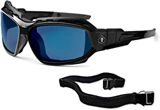 Ergodyne Skullerz Loki Convertible Safety Sunglasses, Blue Mirror Lens-Includes Gasket and Strap to Convert to Goggle