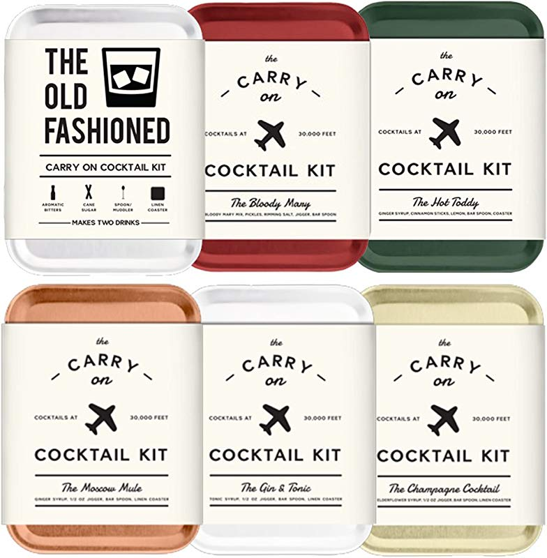 The Carry On Cocktail Kit Old Fashioned Moscow Mule Gin And Tonic Bloody Mary Hot Toddy Champagne Cocktail 6 Pack Carry On Cocktail Kit Holiday Set Six Carry On Cocktail Kits Makes 12 Drinks