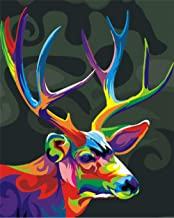 Hwhz Frameless Color Magic Deer DIY Painting by Numbers Kits Coloring Oil Painting On Canvas Drawing Home Artwork Wall Art...