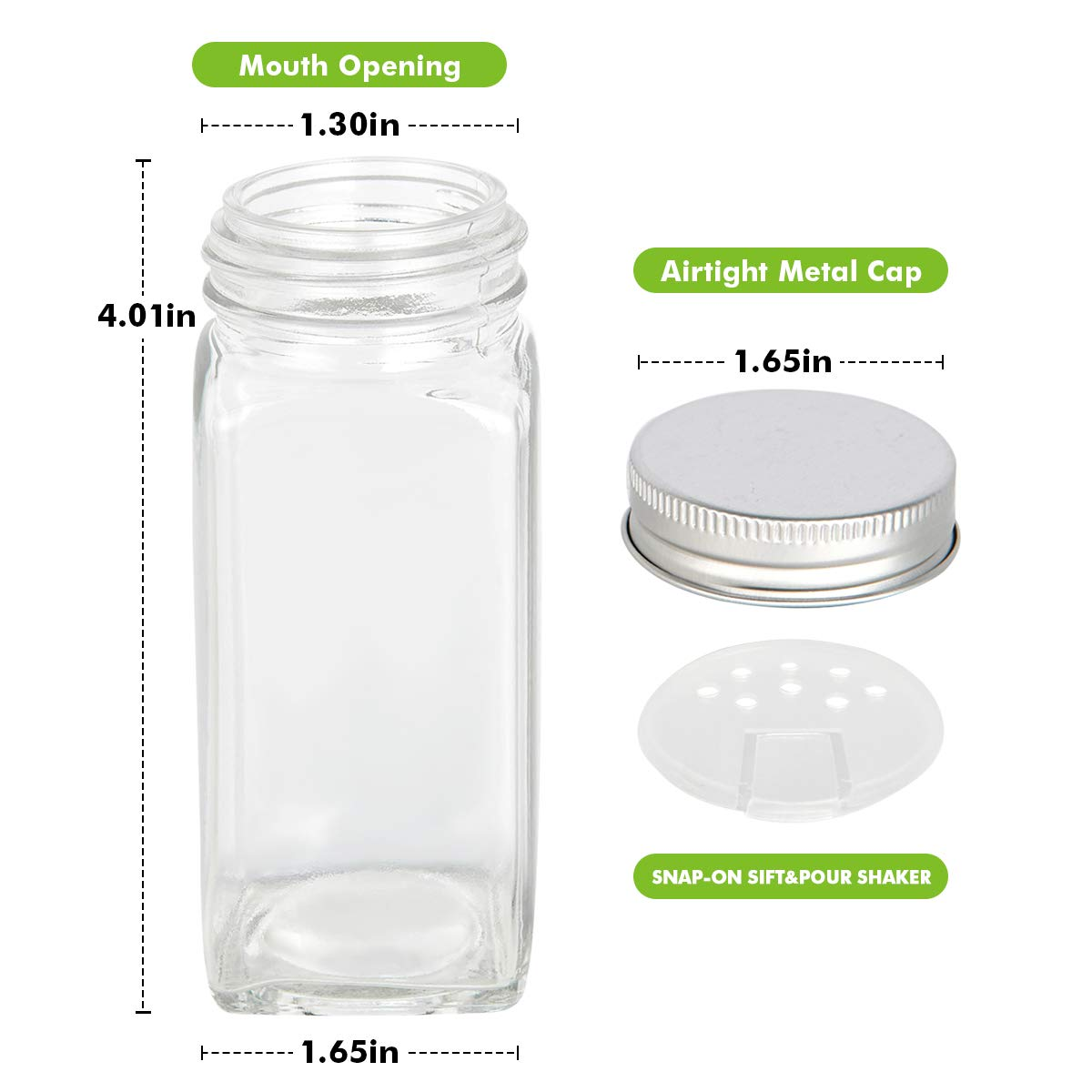 25 Pcs Glass Spice Jars Bottles 4oz Empty Square Containers with Shaker Lids ..