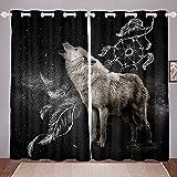 Cortinas de plumas con diseño de atrapasueños, diseño bohemio de lobo para niños, adolescentes, adultos, cortinas para ventanas de estilo bohemio, cortinas para ventanas, 167,6 x 183 cm