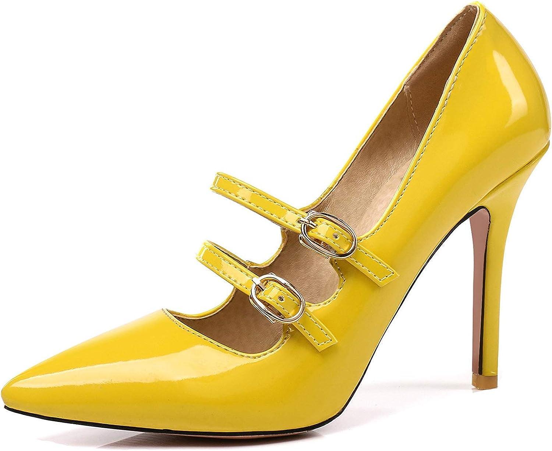 Unm Women's High Heel Pumps with Buckle Strap - Wedding Burnished Pointed Toe - Low Cut Slip On Stilettos