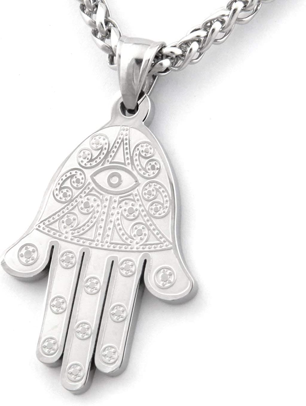 Warvik Hamsa Hand Evil Eye Max 86% OFF famous Pendant Jewish Stainless St Necklace