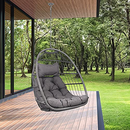 Swing Egg Chair Without Stand Indoor Outdoor Wicker Rattan Patio Basket Hanging Chair with UV Resistant Cushions Aluminum Frame 350lbs Capaticy for Bedroom Balcony Patio (Without Stand)