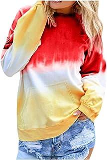 Xmiral Pullover Donna O-Collo Gradiente Contrasto Colore Manica Lunga Felpa Top
