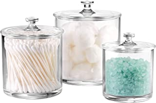 NEW Rae Dunn Bathroom COTTON BALLS Large Glass /& Q-tips Jar//Canisters Farm