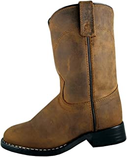 Smoky Children's Kid's Oiled Distress Brown Leather Western Cowboy Boot