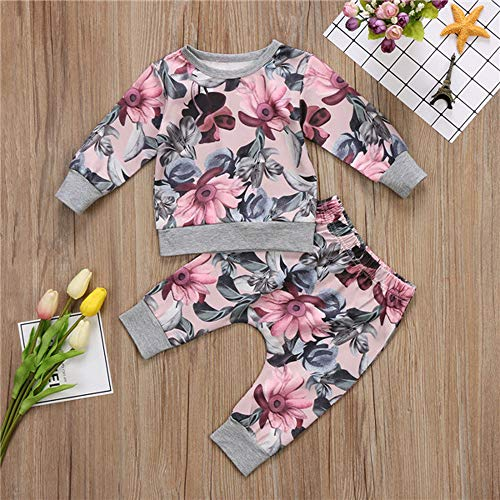 Newborn Girl Clothes Coat T-Shirt Tops + Floral Pants Leggings Outfits Set Toddler Short Sleeve T-Shirt Print Top Dress for Kid Girl Boy