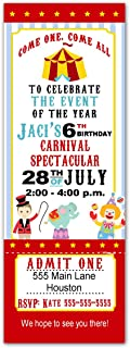 30 Invitations Kids Birthday Party Circus Personalized Tickets