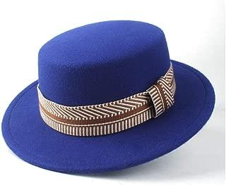 HaiNing Zheng Men Women Flat Top Hat Winter Wide Brim Hat Friend Party Hat Trilby Fedora Hat Size 56-58CM
