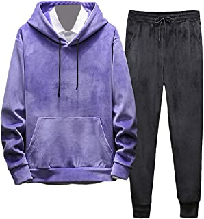 Howme-Men 2-Pieces Activewear Plus Velvet Solid Hooded Sweatshirt and Long Pants