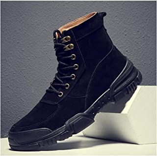 Bin Zhang Ankle Boots for Men Work Shoes Round Toe Lace Up Genuine Leather Short Tube Solid Colour Stitch Combat Boot Non-Slip (Color : Black, Size : 8.5 UK)