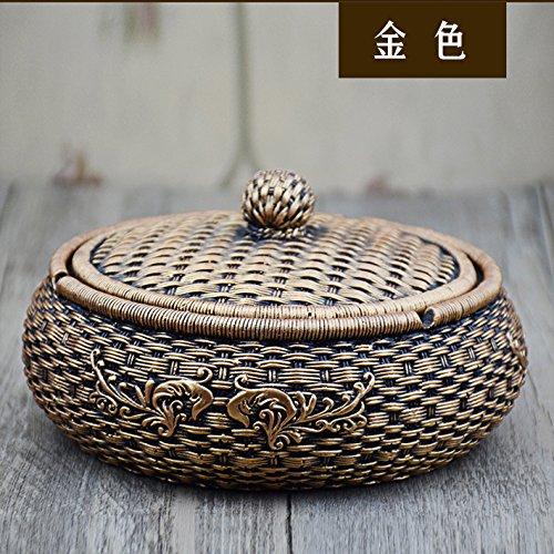 Creatieve mensen de bamboe mand asbak Home Trend - Retro grote huis asbak met deksel, goud antiek goud