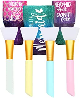 Silicon Epoxy Brushes Set for Making Epoxy Glitter Tumblers, Reusable Flexible Epoxy Application Sticks for Spreading an Even Coat of Epoxy Resin on Tumblers and Cups (Pack of 4)