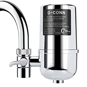 O-CONN Faucet Water Filter, Reduces Lead, Fluoride & Chlorine, Food Grade ABS Medical Material, Home Healthy Purified Water Filter, Fits Standard Faucets (1 Filter Included)
