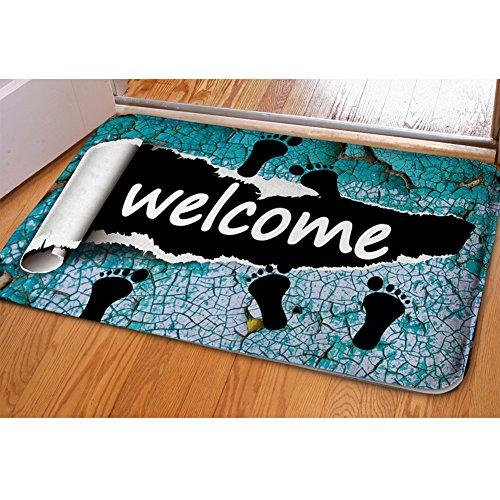 Tuoking 3D parole Theme Printing zerbino antiscivolo indoor outdoor flanella tappeti e moquette per porta bagno soggiorno portico cucina Welcome-3