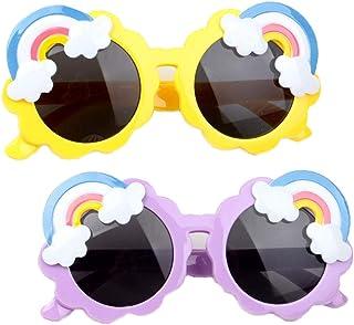 KUOGE - Summer Rainbow Gafas de sol para niños pequeños, Gafas de sol para niños pequeños de 1 a 5 años redondas, para niños niñas Gafas de sol resistentes a los rayos Uv (Amarillo + morado)